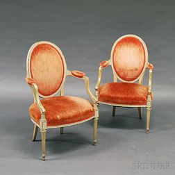 Pair of Louis XV-style White-painted and Carved Upholstered Fauteuil