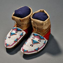 Plains Cree Beaded Buffalo Hide Moccasins