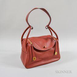 """Hermes Red Leather """"Lindy"""" Handbag"""