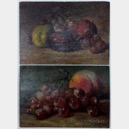 Josephine Elizabeth Bradstreet (American, 1859-1920)      Two Still Lifes with Fruit