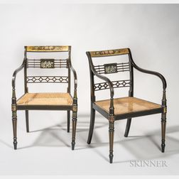 Pair of Regency-style Painted Armchairs