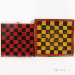 Two Painted Checkers Game Boards