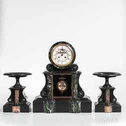 French Belgian Black Slate Clock and Garniture Set