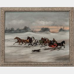 American School, 19th Century      Sleighing Scene