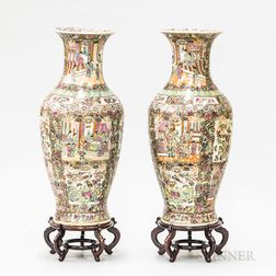 Pair of Rose Medallion Palace Jars and Stands