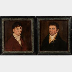 American School, Early 19th Century      Pair of Portraits, Man and Woman