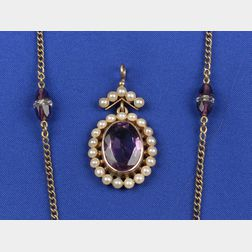 Two Edwardian 14kt Gold and Amethyst Jewelry Items