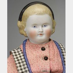 """Blonde Parian-Type Shoulder Head Doll with """"Alice"""" Band"""