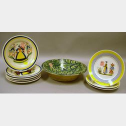 Hispano-Moresque Faience Bowl and Two Small Sets of Quimper Plates