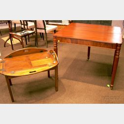 Federal-style Mahogany and Mahogany Veneer Card Table and a Georgian-style Mahogany Butlers Tray Table.