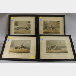 Four Framed Mid-19th Century Prints After George Alkin, Cock Fighting