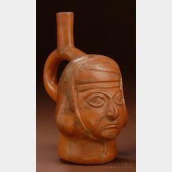 Pre-Columbian Painted Pottery Portrait Vessel