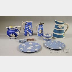 Nine Pieces of Wedgwood Jasper and Other Stoneware Items, late 19th to late 20th