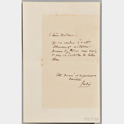 Rodin, Auguste (1840-1917) Autograph Note Signed, undated.