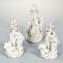 Three Derby Biscuit Porcelain Figural Groups