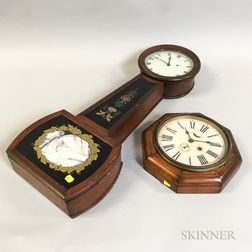 Reverse-painted Mahogany Patent Timepiece and an Octagonal Wall Clock
