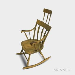 Yellow-painted Arrow-back Windsor Armed Rocking Chair