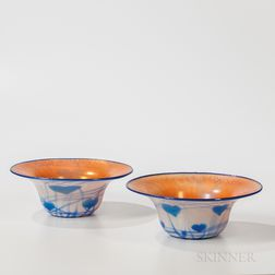 Pair of Imperial Art Glass Bowls with Hearts and Vine Decoration