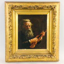 Hugo Bruel (German, 1854-1910)    Portrait of a Violinist