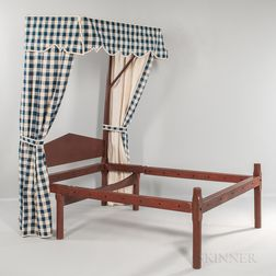 Red-painted Maple Quarter Canopy Bed