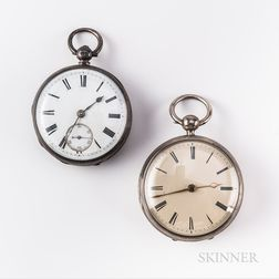 Two Chain Fusee Silver-cased Watches