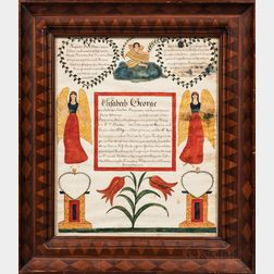 Watercolor and Pen and Ink Marriage Fraktur for Elisabeth George