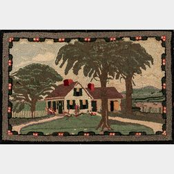 Hooked Rug with a House in a Landscape