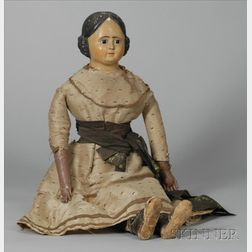 Large Papier-Mache Doll Shoulder Head Doll with Glass Eyes