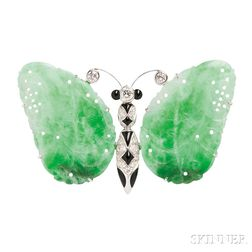 White Gold, Jade, Diamond, and Onyx Butterfly Brooch