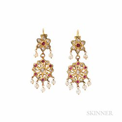 Gold Gem-set Earrings