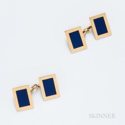 18kt Gold and Enamel Cuff Links