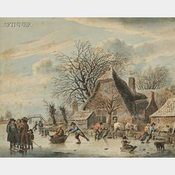 Manner of Jacob Cats (Dutch, 1741-1799)      Skaters on a River Beside a Brick House