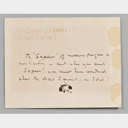 Whistler, James Abbot McNeill (1834-1903) Autograph Note with Butterfly Signature and Holograph Envelope, 7 September 1886.