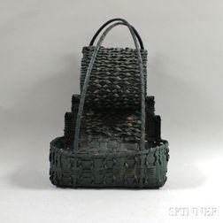 Green-painted Woven Splint Hanging Basket