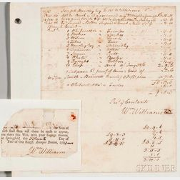 Williams, William (1731-1811) Signed Receipt and Clipped Signature, 1773-1774.