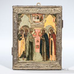 Russian Icon of the Apparition of Mother Mary Before Saint Sergei