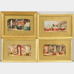 Attributed to George Baxter (British, 1804-1867)    Four Views of Crystal Palace Interior Exhibits