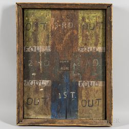 "Painted Primitive ""Baseball"" Dart Board"