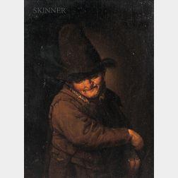 School of Adriaen Jansz van Ostade (Dutch, 1610-1685)      Figure of a Man in a Tall Hat Holding an Instrument