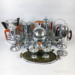 Group of Art Deco Chrome and Bakelite Coffeepots and Accessories