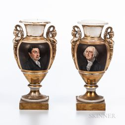 Pair of Porcelain Vases Depicting George Washington and the Marquis de Lafayette