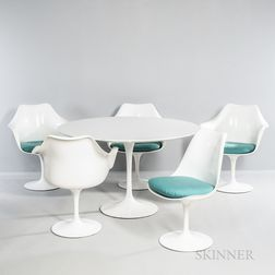 Eero Saarinen (1910-1961) for Knoll International Tulip Dining Table and Five Tulip Chairs