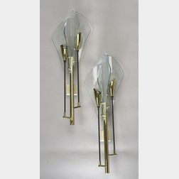 Pair of glass and metal wall sconces