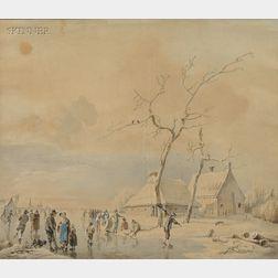 Johannes Cornelis Haccou (Dutch, 1798-1839)      Animated Winter Scene with Skaters.