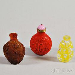 Three Peking Glass Snuff Bottles