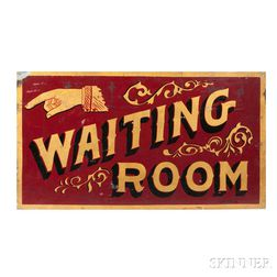 """Painted and Gilt Sheet Tinned Iron """"WAITING ROOM"""" Sign"""