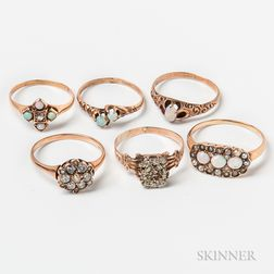 Six Antique Gold and Opal Rings
