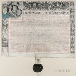 Reign of George II, King of England (1683-1760) Secretarially Signed Document 25 June 1735, with Royal Seal.