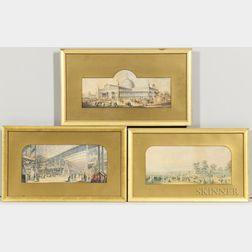 Attributed to George Baxter (British, 1804-1867)  Three Views of 19th Century Expositions, Including Crystal Palace, London (...