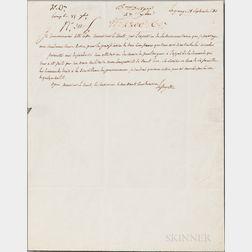 Lafayette, Marquis de (1757-1834) Autograph Letter Signed, La Grange, 18 September 1811.